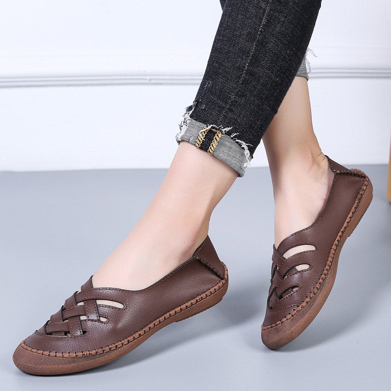 Women Suede Handmade Stitching Hollow Breathable Comfy Casual Loafers