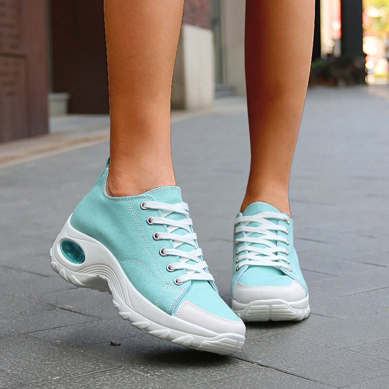 Women Athletic Canvas Lace-up Platform Sneakers