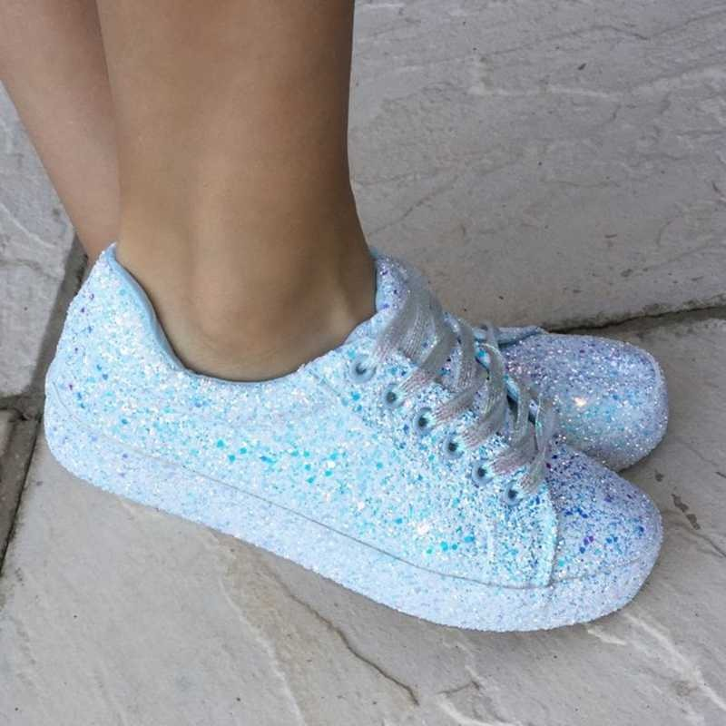 Women Casual Sequins Flat Heel Lace Up Sneakers