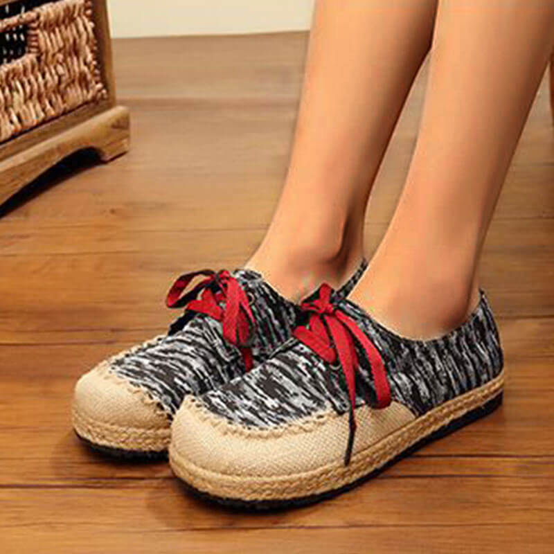 Women Linen National Espadrille Lace-up Flat Heel Loafers