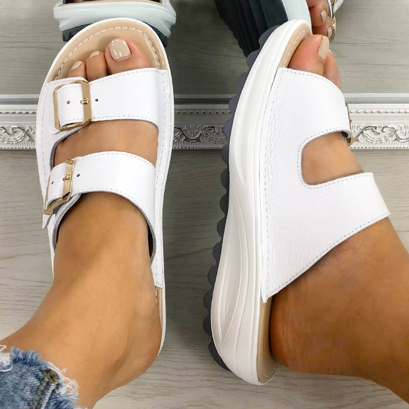 Women Casual Buckle Open Toe Slip On Platform Slippers