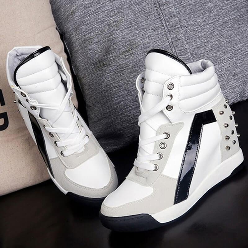 Women Casual Rivet Hit Color Lace Up Wedge Heel Sneakers