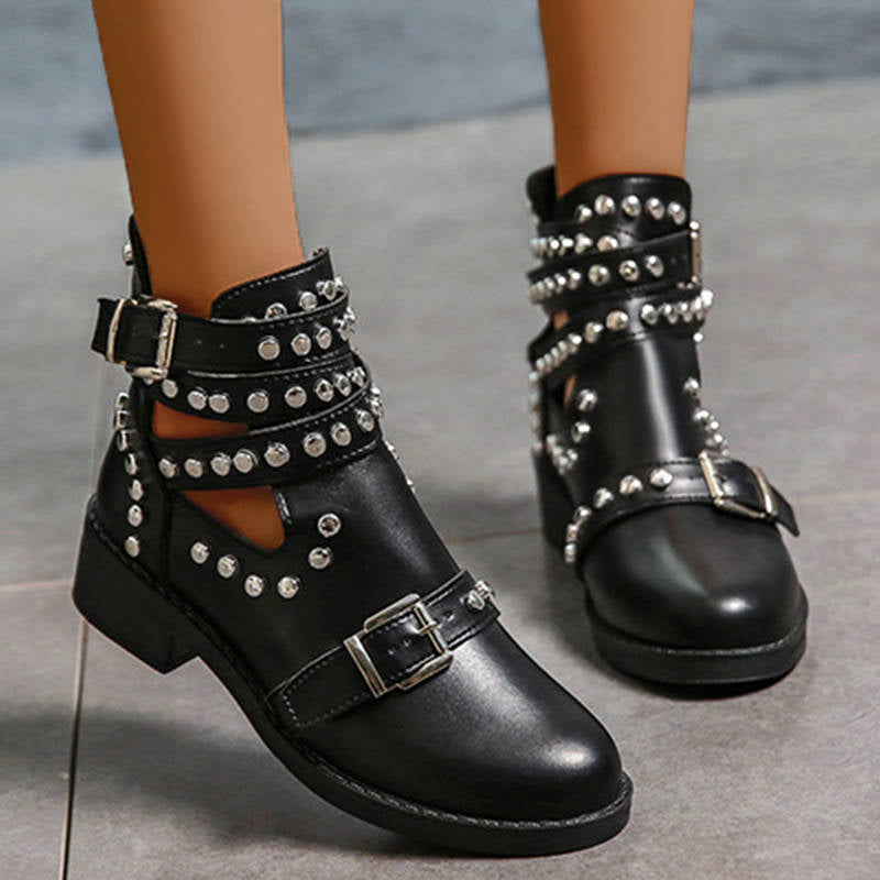 Women Individuality Mental Rivet Adjusting Buckle Chunky Heel Boots