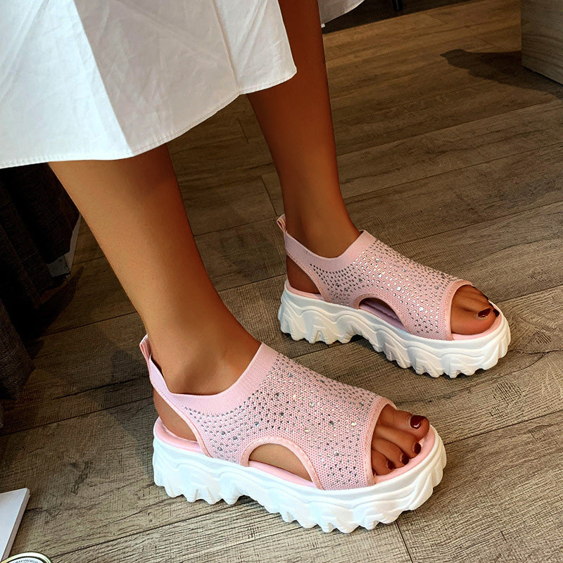 Women Casual Flyknit Fabric Rhinestones Slip On Creepers Platform Sandals