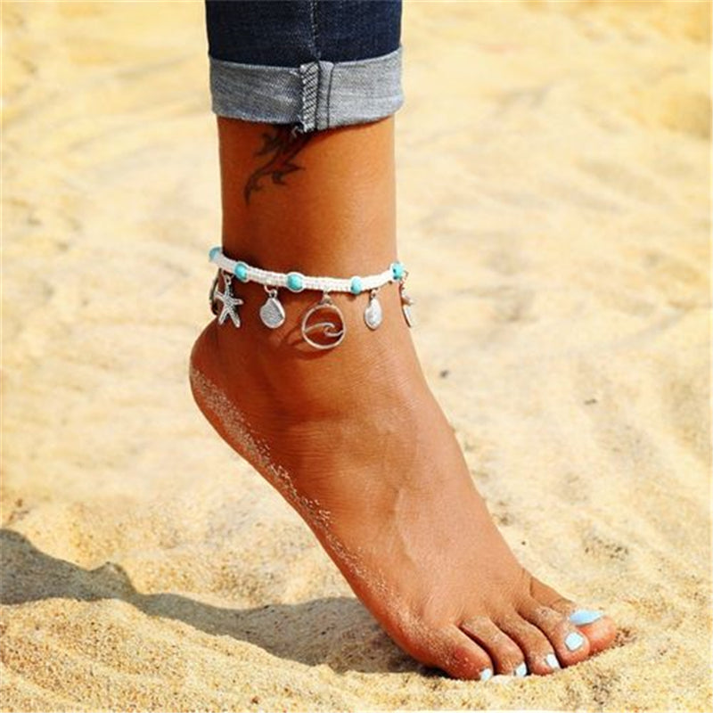 Bohemian Pendant Turquoise Beads Chain Anklets Woman Vintage Handmade Weaving Rope Ankle Chain