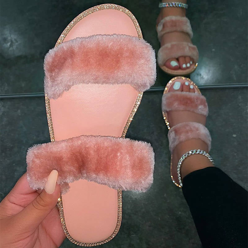 Women Fuzzy Artificial Fur Comfy Open Toe Flat Heel Cotton Slippers