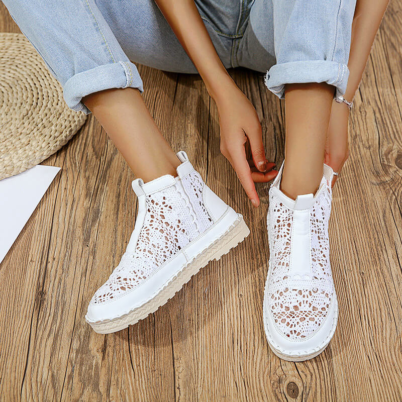 Women Comfy Elastic Lace Hollow-out Slip On Platform Boots