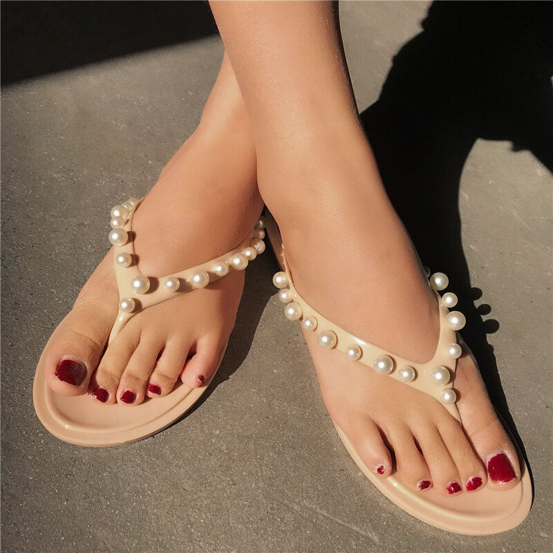 Women Casual Pearl Thongs Slip On Slippers