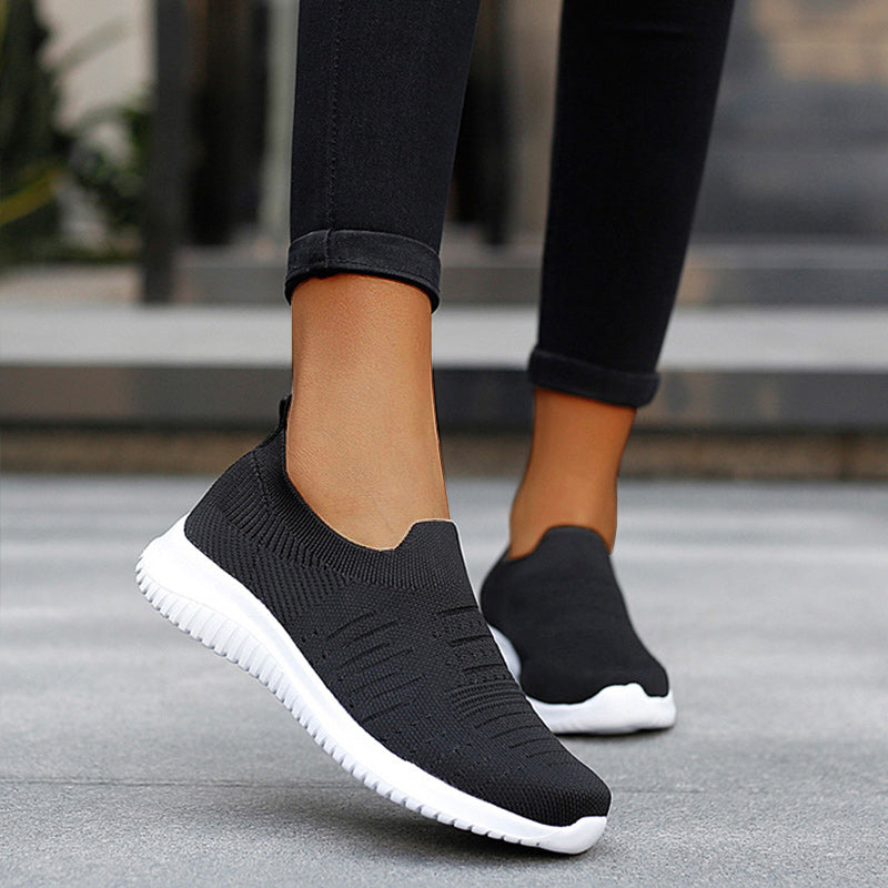 Women Casual Large Size Cutout Flyknit Fabric Sneakers