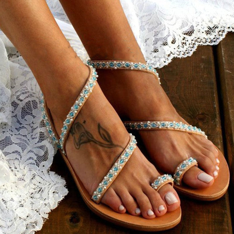 Women Casual Beading Pearl Open Toe Flat Heel Wedding Party Sandals