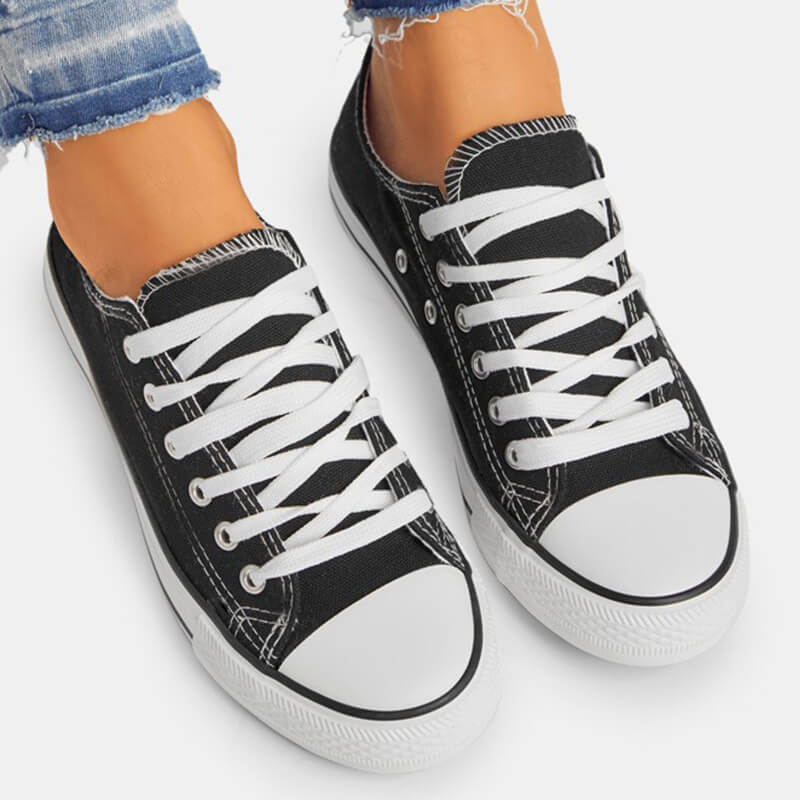 Women Casual Simple Canvas Lace Up Sneakers