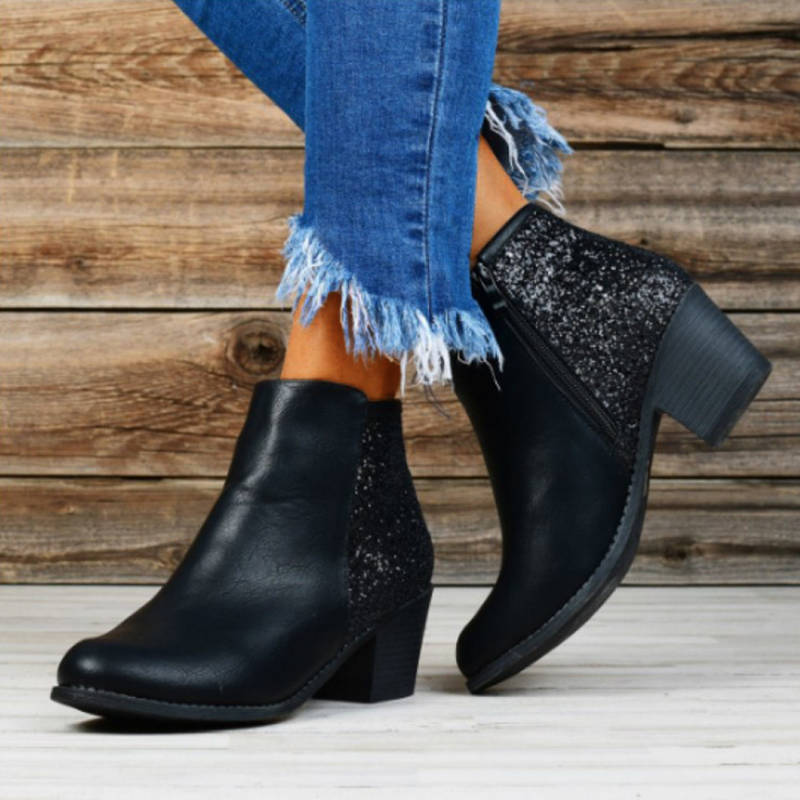 Women Casual Paillette Zipper Chunky Heel Boots