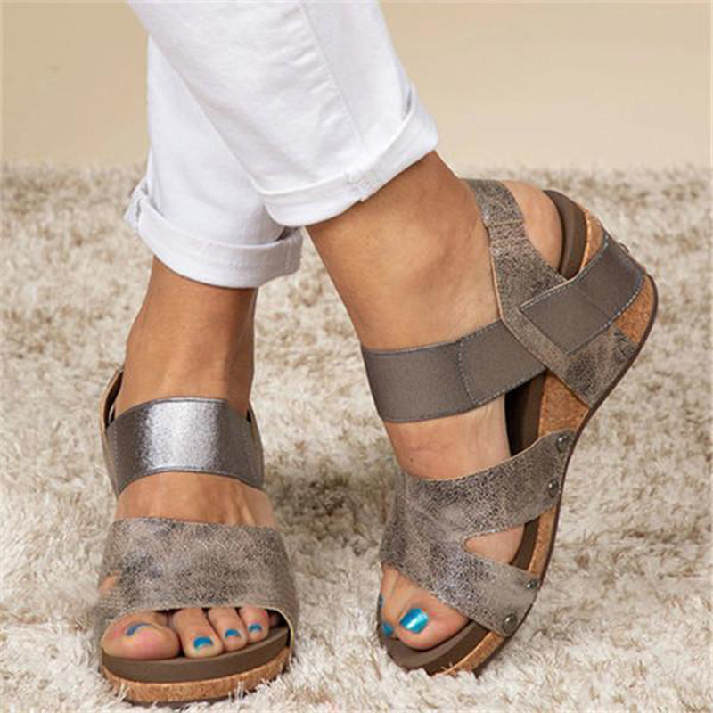 Women Large Size Elastic Band Wedge Sandals
