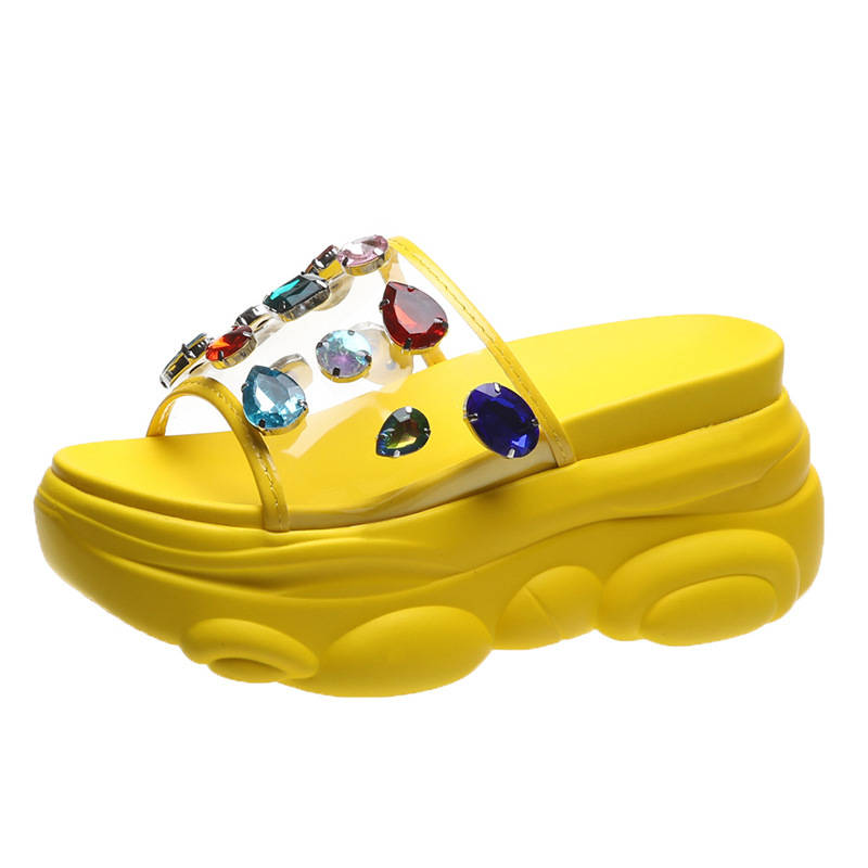 Women Stylish Colorful Rhinestones Hit Color Open Toe Slip On Platform Creepers Slippers
