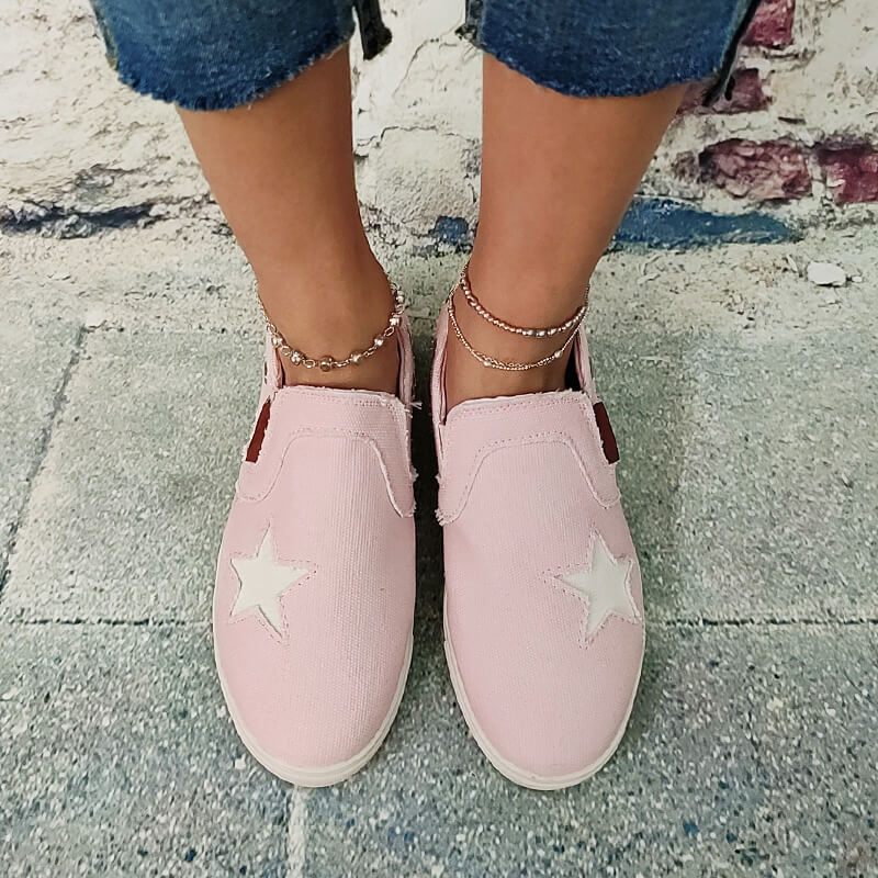 Women Canvas Star Slip On Flat Heel Sneakers