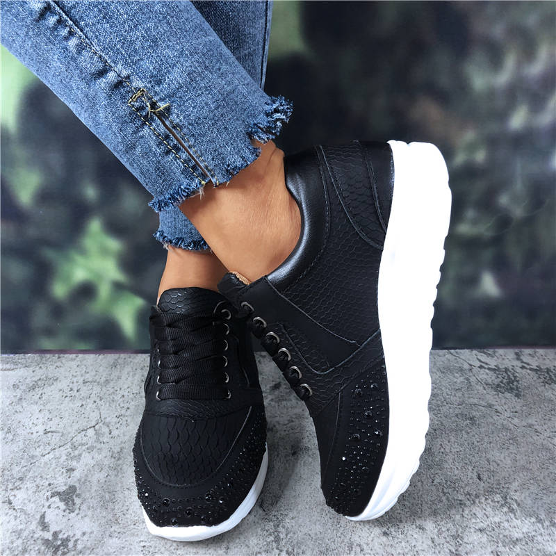 Women Fancy Blingbling Rhinestones Mixed Colors Split Joint Lace Up Platform Sneakers