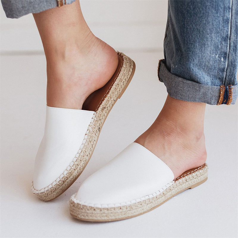 Women Large Size Round Toe Straw Slippers