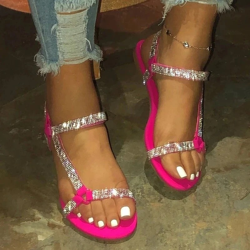 Women Casual Large Size Rhinestone Magic Tape Sandals