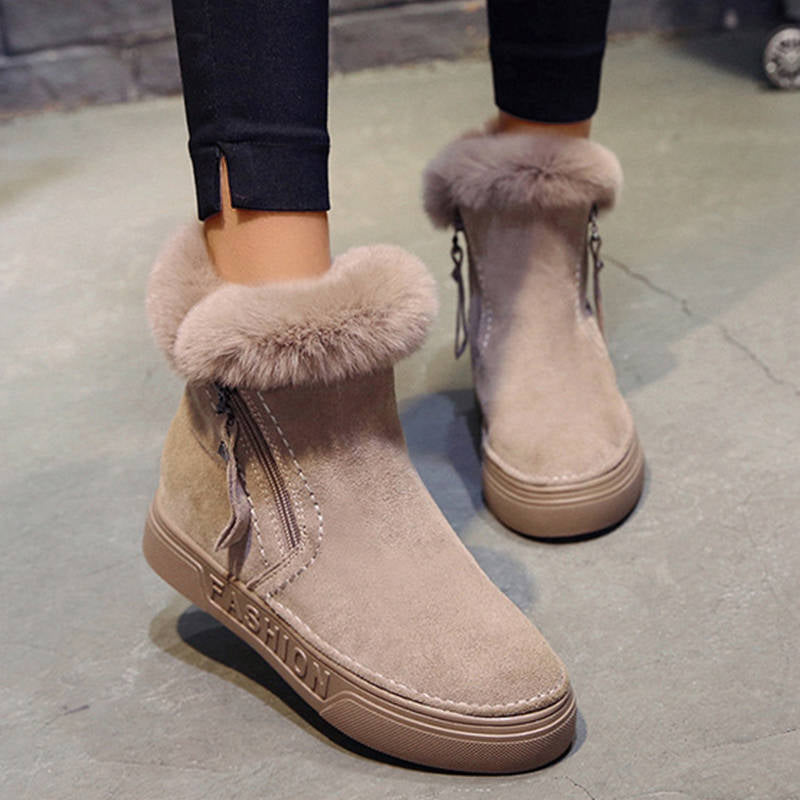 Women Simple Non Slip Flat Heel Cotton Snow Boots