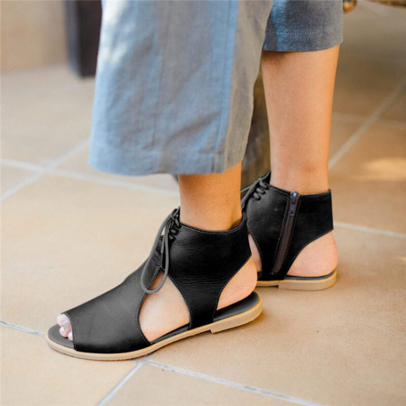Women Casual Large Size Side Zipper Lace Up Flat Sandals