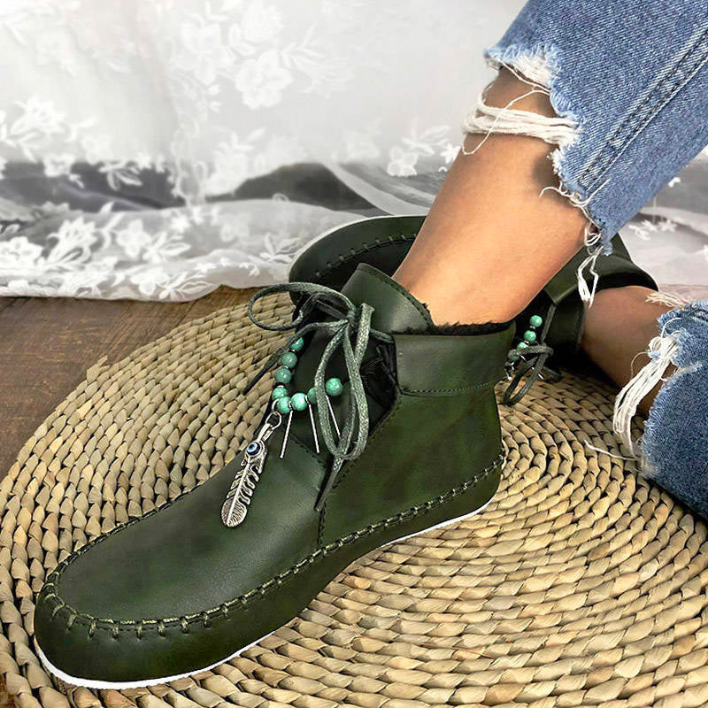 Women PU Round Toe Warm Bohemian Ankle Slip On Boots