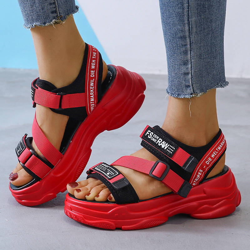 Women Stylish Fabric Velcro Open Toe Muffin Sandles Platform Sandals