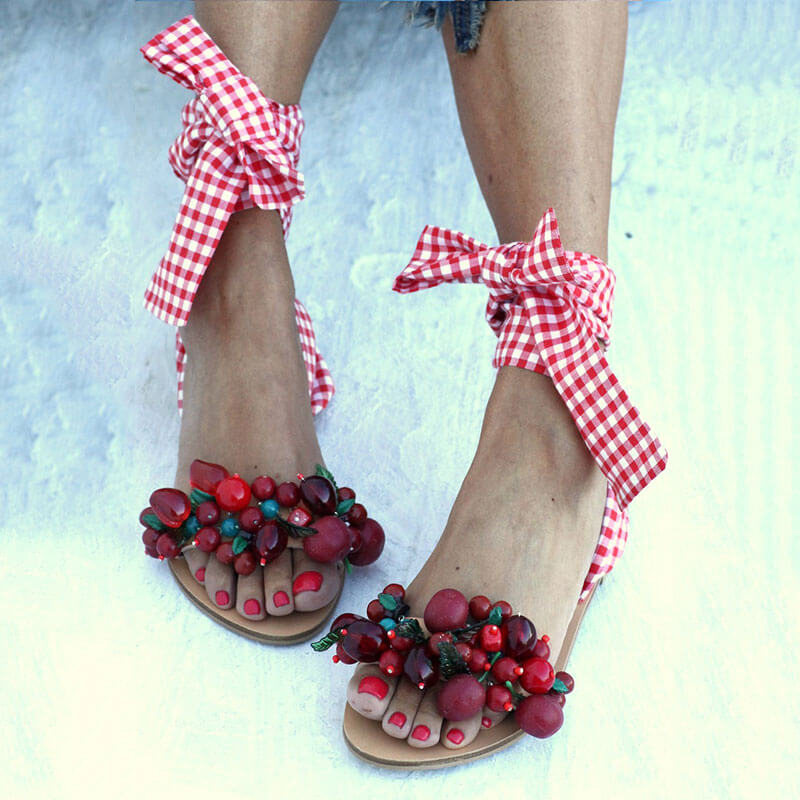 Women Wedding Multicolor Pearl Open Toe Lace-up Sandals
