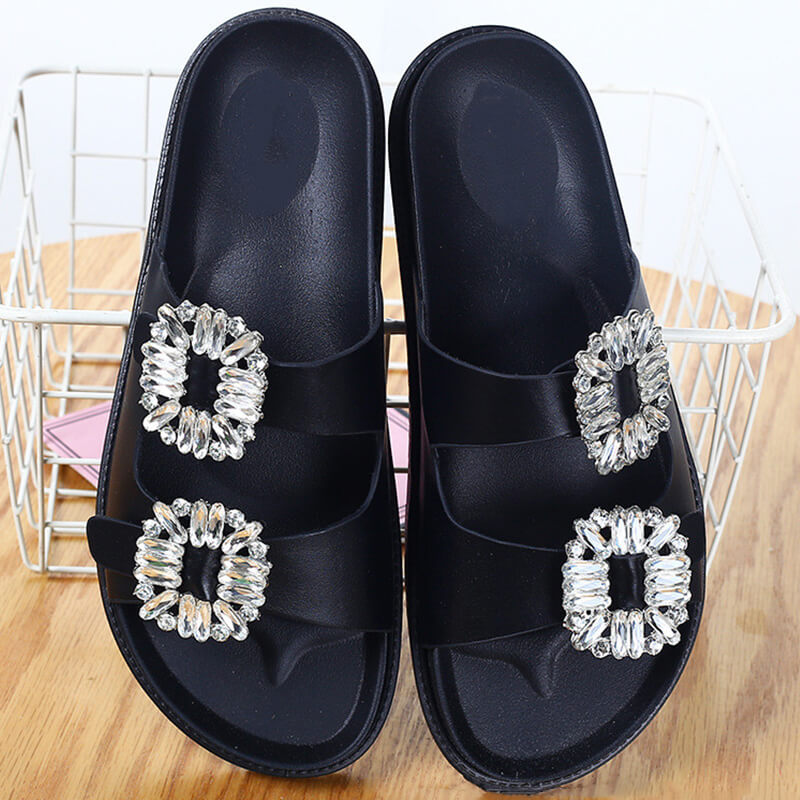 Women Casual Summer Seaside Rhinestone Slippers