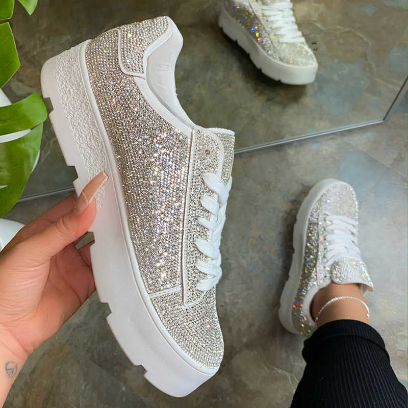 Women Trendy Shining Rhinestones Mixed Colors Lace Up Platform Sneakers
