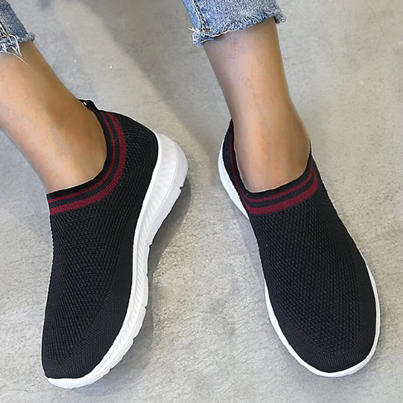 Women Casual Breathable Contrast Color Slip On Sneakers