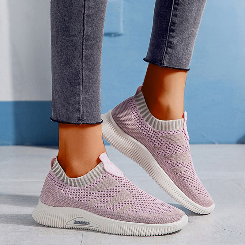 Women Casual Athletic Hit Color Slip On Flat Heel Sneakers