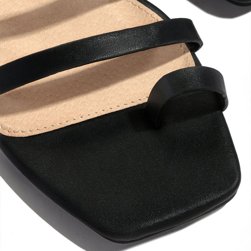 Women Thongs Square Toe Slip On Flat Heel Slippers