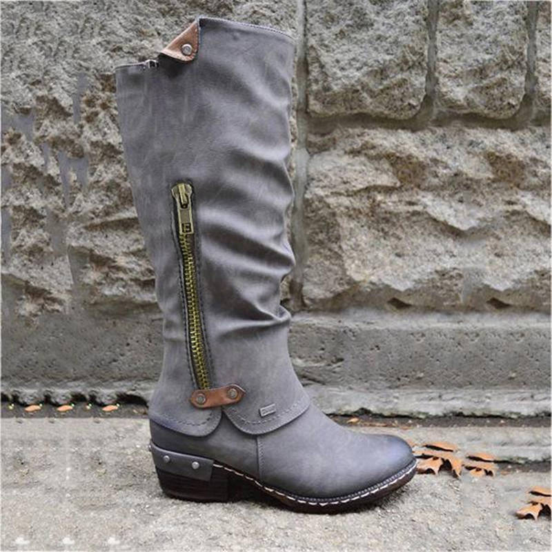 Women Chic Split Joint Slip On High Boots With Pocket