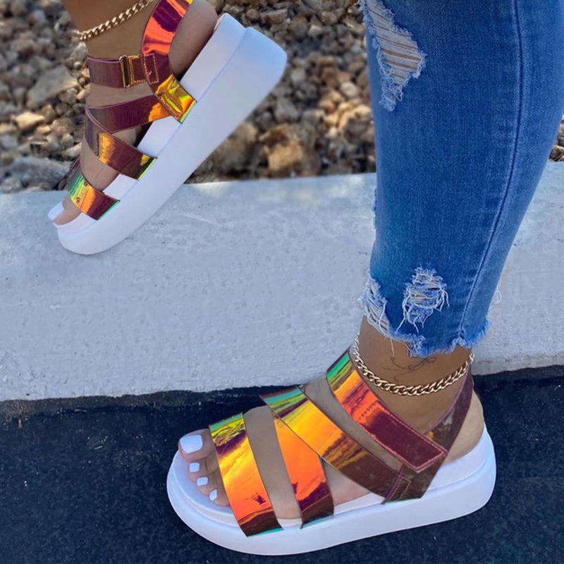 Women Multicolor Glossy Open Toe Velcro Creepers Platform Sandals