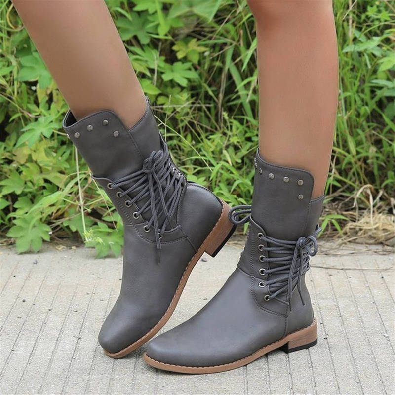 Women Chic Solid Color Beading Lace Up Zipper Chunky Heel Boots