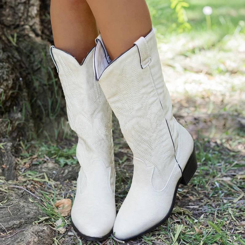 Women Simple Embroidery Slip On Cowboy Chunky Heel High Boots