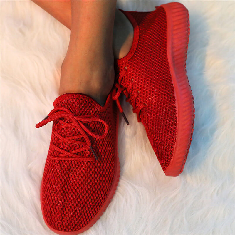 Women Simple Flyknit Fabric Lace Up Breathable Sneakers