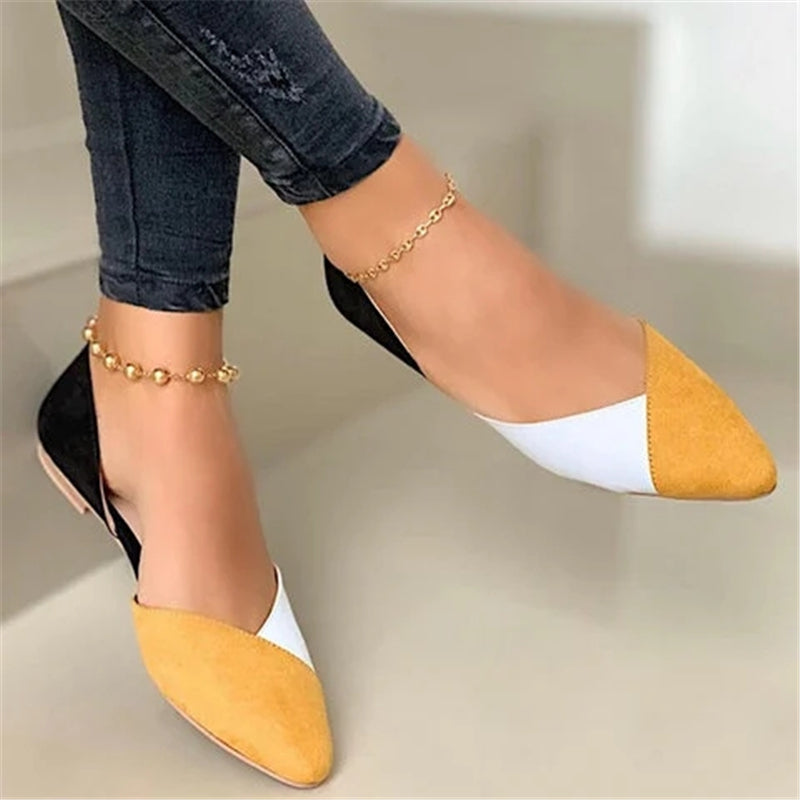 Women Hit Color Pointed Toe Slip On Flat Heel Loafers