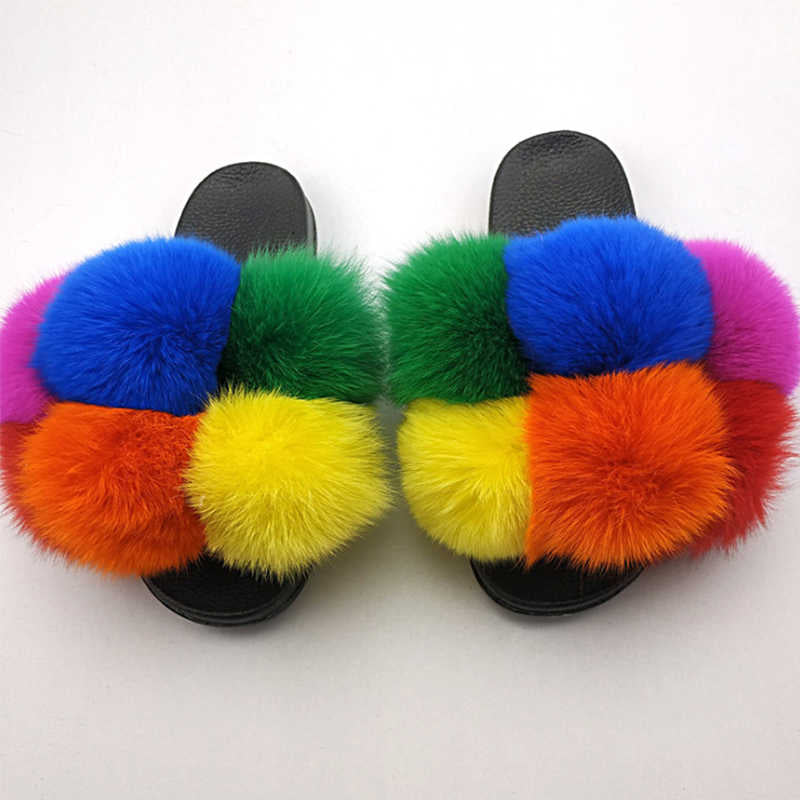 Women Plus Size Hit Colors Furry Ball Open Toe Slip On Slippers