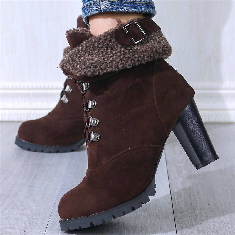 Women Warmth Artificial Suede Buckle Lace Up Chunky Heel Cotton Boots