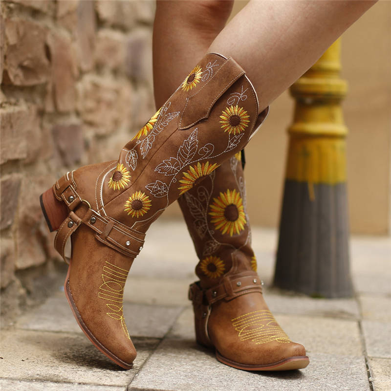 Women National Floral Embroidery Rivet Strap Slip On Chunky Heel Cowboy High Boots