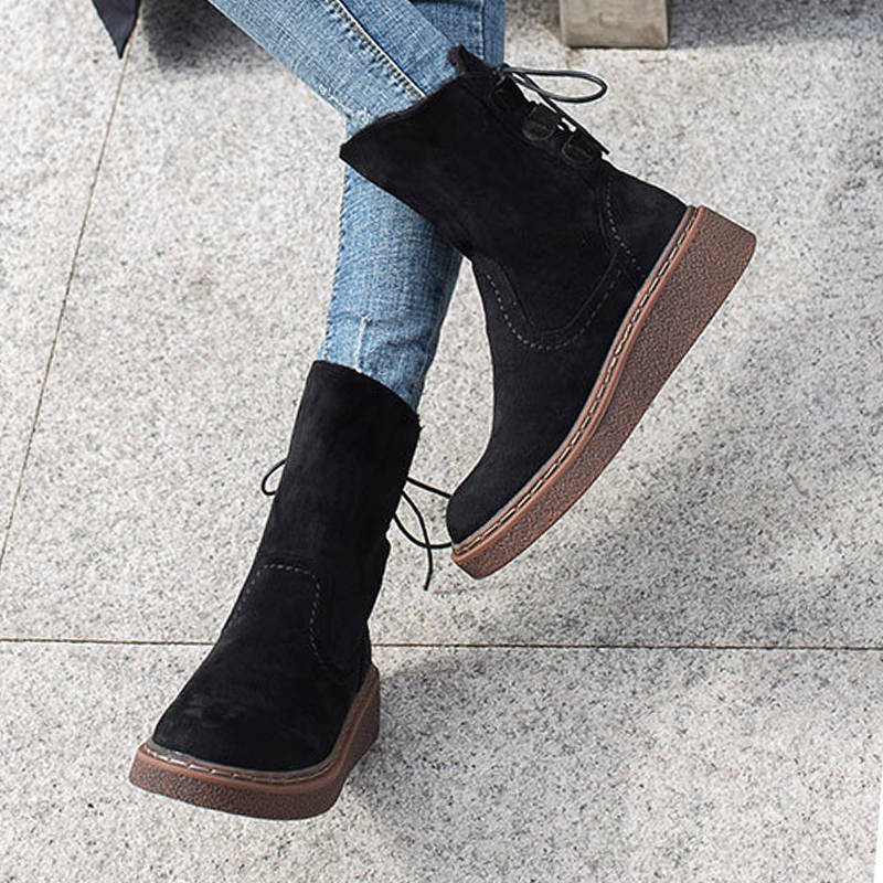 Women Cozy Lace Up Snow Boots With Inner Fur
