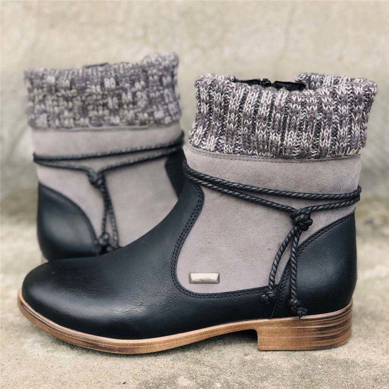 Women Simple Hit Colors Woolen Slip On Chunky Heel Boots