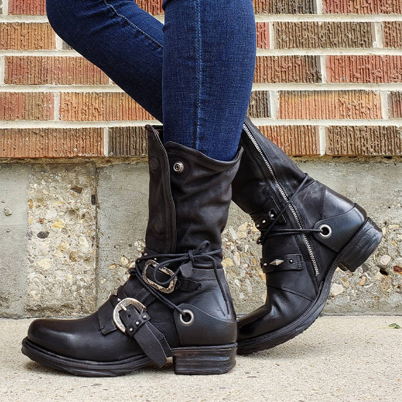 Women Individuality Lace Up Rivet Strap Buckle Zipper Chunky Heel Mid-calf Boots
