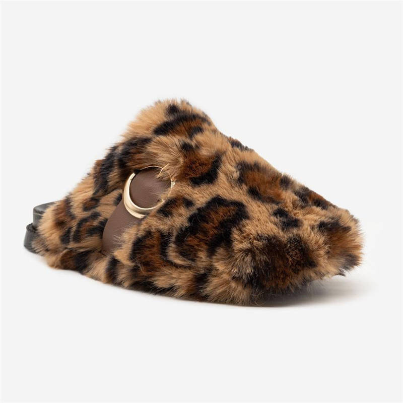 Women Cute Leopard Mixed Colors Fluffy Fur Closed Toe Slip On Slippers