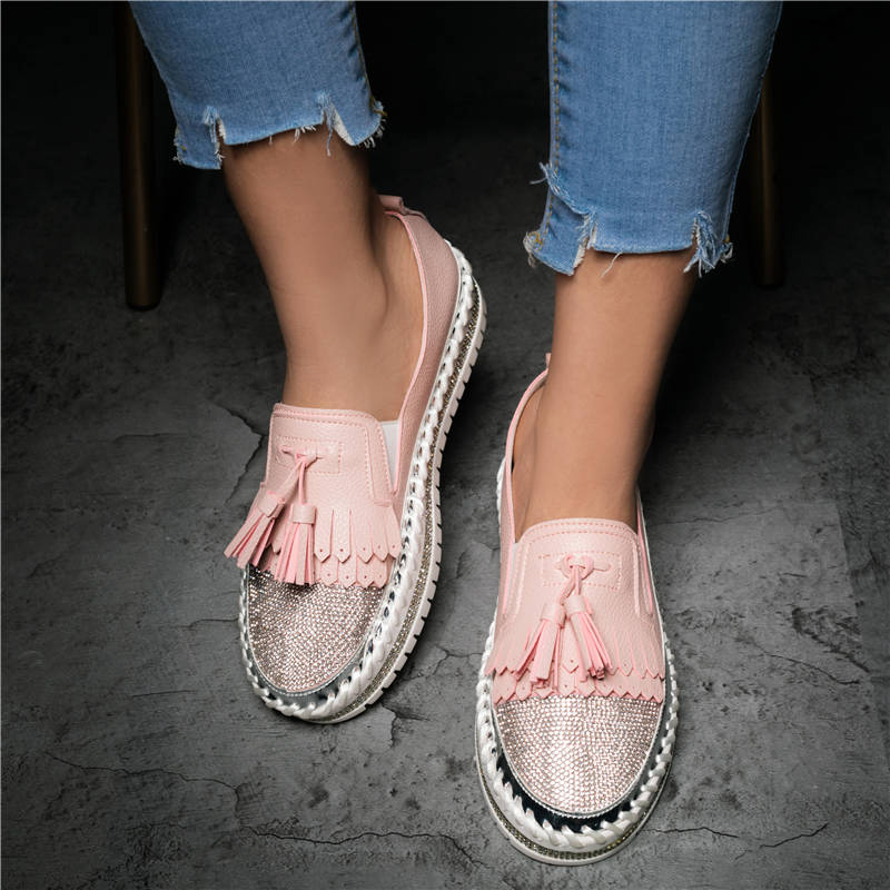Women Trendy Sparkle Rhinestones Tassel Slip On Platform Loafers