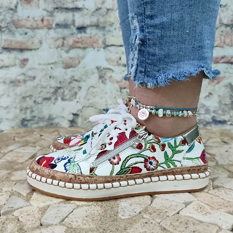 Women Floral Zipper Lace-up Flat Heel Sneakers