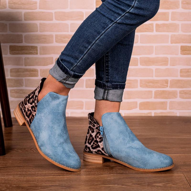 Women Retro Leopard Split Joint Zipper Hit Colors Boots