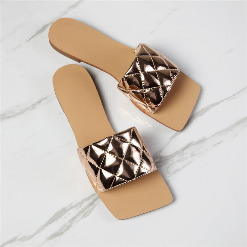 Women Diamond lattice Square Toe Slip On Flat Heel Slippers