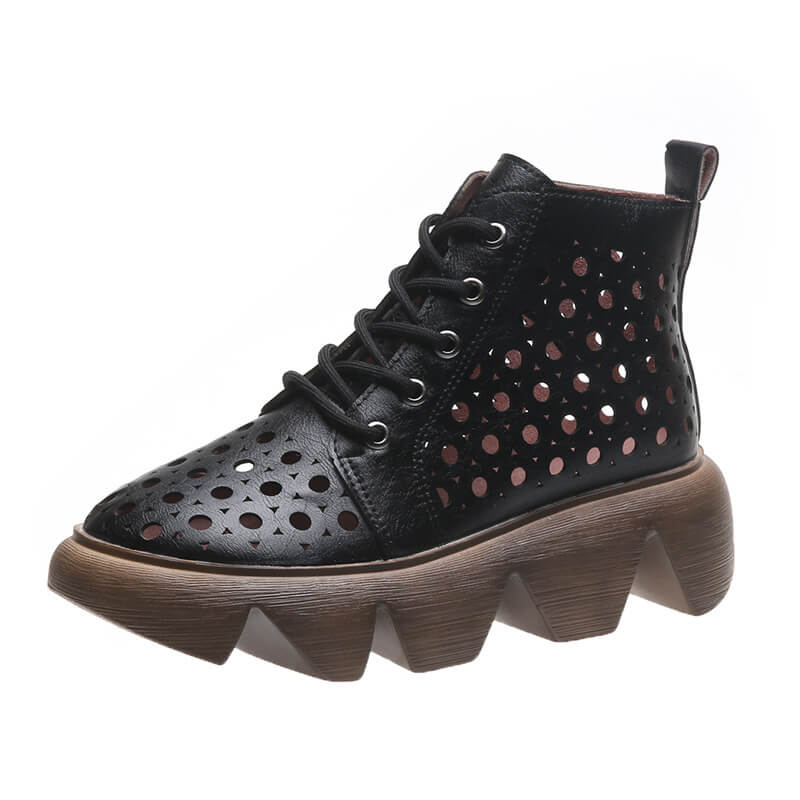 Women Fashion Hollow-out Lace Up Breathable Platform Boots